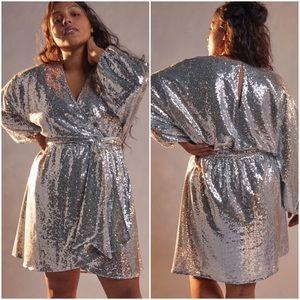 Anthro Lisabette Sequin Wrap Mini Dress Silver 1X